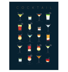 Poster cocktails flat dark blue vector