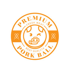 premium pork ball with pig stick out tongue vector image