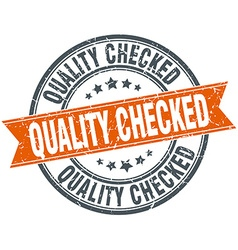 Quality checked round orange grungy vintage vector