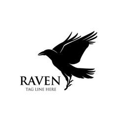 Raven fly logo icon design vector