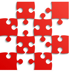red puzzle pieces - jigsaw - field for chess vector image