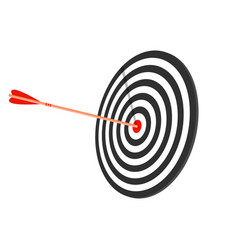 red target with arrow flat style long shadow vector image