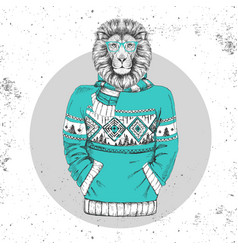 retro hipster animal lion dressed in pullover vector image