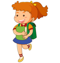 school girl with book and schoolbag vector image