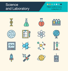 science and laboratory icons filled outline vector image