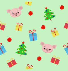 seamless christmas pattern with gifts cute pig vector image