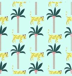 seamless pattern leopards and palm trees on a vector image