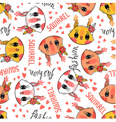 seamless pattern with cute squirrel face with a vector image