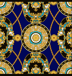 Seamless vintage pattern with golden decorative vector