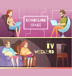 sedentary lifestyle retro cartoon banners vector image
