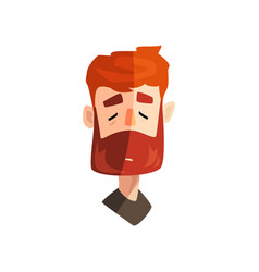 Serious redhead bearded man with closed eyes male vector