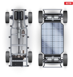 Set car rolling chassis vector