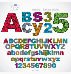 set of beautiful letters and numbers decorated vector image