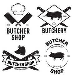 set of butchery logo templates butchery labels vector image