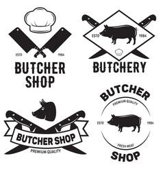 Set of butchery logo templates butchery labels vector