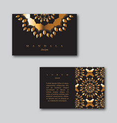 set of ornamental business golden cards with vector image