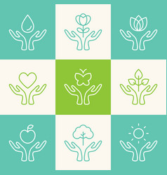 Set outline signs caring hands vector