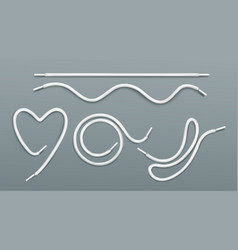 Shoe laces heart string round and wavy shapes vector