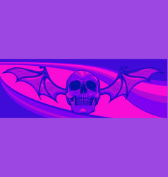 skull with bat wings on colored background vector image
