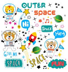 Space pattern animal cartoon vector