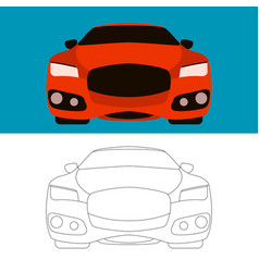 sports cars flat style front vector image