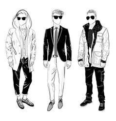 Stylish man showcasing street fashion vector