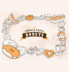 template different types donut for menu vector image