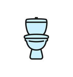 Toilet lavatory wc flat color line icon vector
