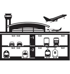 transportation hub at airport vector image