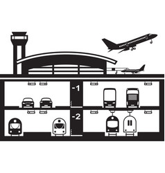 Transportation hub at airport vector