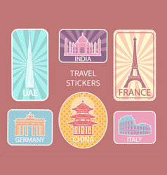travel stickers of different places set vector image