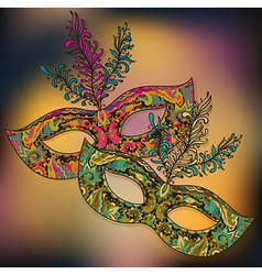 two floral Venetian carnival masks with f vector image