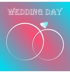 two wedding rings invitation card vector image