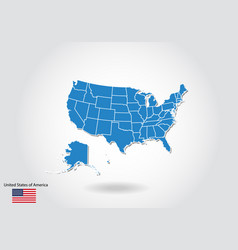 united states map design with 3d style blue usa vector image