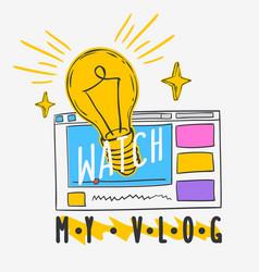 vlog video blog social media cartoon style design vector image