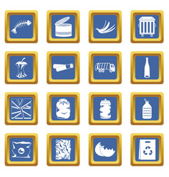 waste and garbage icons set blue vector image