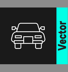 white line car icon isolated on black background vector image