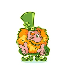 Winking Leprechaun in green costume vector image