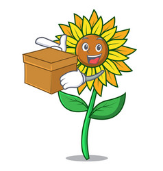 with box sunflower character cartoon style vector image