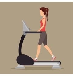 Woman with walking machine gym vector