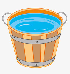 Wooden pail with water vector