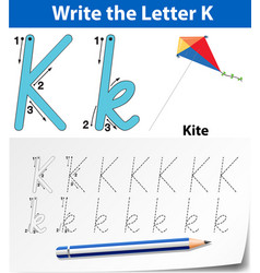 Write the letter k english card vector