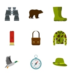 Bird hunting icons set flat style vector image