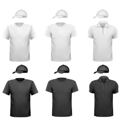 Black and white men shirt and cup Design template vector image vector image