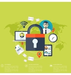 Flat padlock icon Data protection concept Social vector image vector image