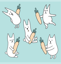 set of rabbits with carrots vector image vector image