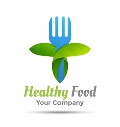 Vegetarian food symbol Leaf shape with knife and vector image