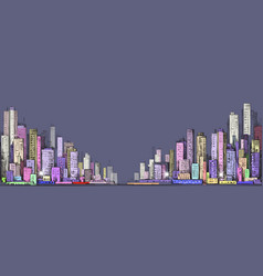 Cityscape night background hand drawn vector
