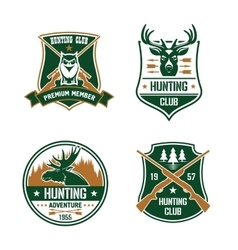 Hunting club shields set hunt sports emblems vector