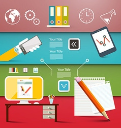 Office Items - Flat Design Business or Technology vector image vector image